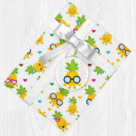 Kawaii Pineapple Themed Wrapping Paper Sheets with Gift Tags