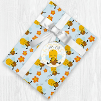Kawaii Bumblebee Themed Wrapping Paper Sheets with Gift Tags