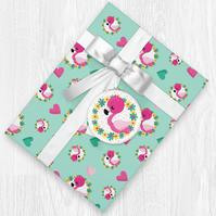 Kawaii Flamingo Themed Wrapping Paper Sheets with Gift Tags