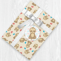 Kawaii Sloth Themed Wrapping Paper Sheets with Gift Tags