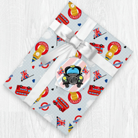 Kawaii British Themed Wrapping Paper Sheets with Gift Tags