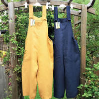 Handmade Soft Linen Ladies Dungarees Jumpsuits Choice of Colours Sizes S-XXL