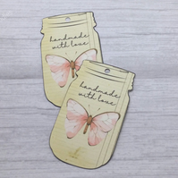 Handmade With Love Vintage Style Swing Tags, Butterfly Mason Jar Shaped Labels