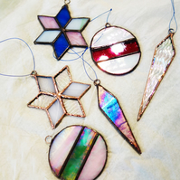Stained Glass Christmas Tree Ornaments Decorations Festive