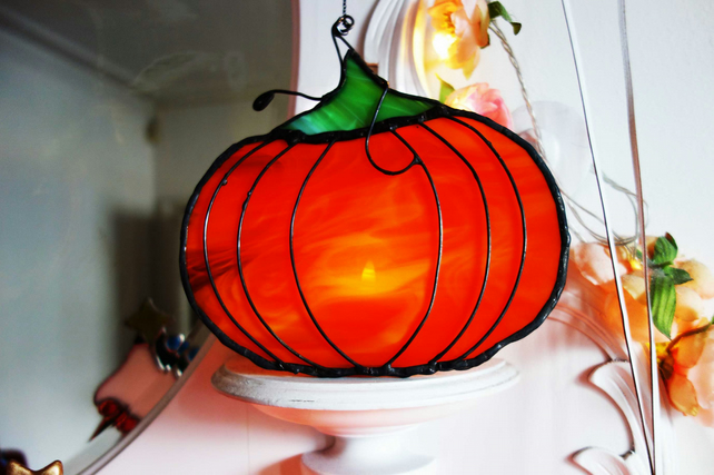 Halloween Stained Glass  Pumpkin Suncatcher Window Decoration