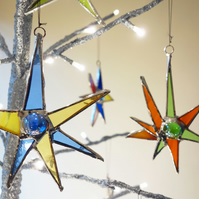 "Christmas Tree decorations Stained Glass x 6  ""Sputnik""  Stars Retro 50's Style"