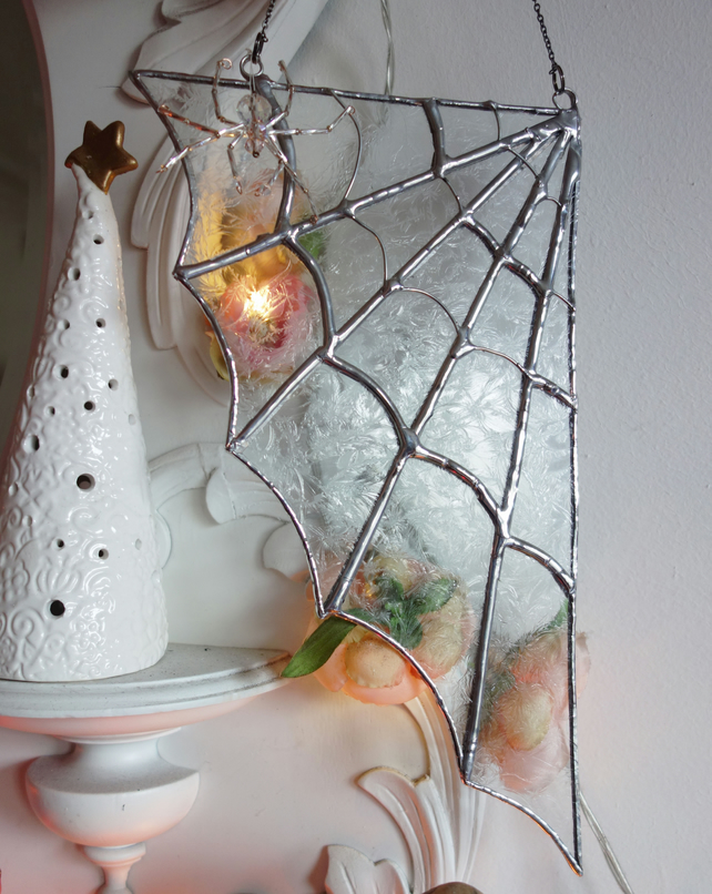 Stained Glass Ice Cobweb with Crystal Spider   Hanging Window Decoration