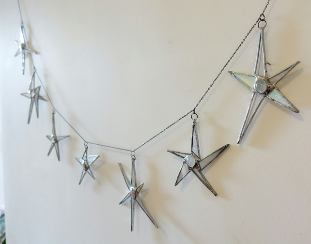 Star Link Stained Glass Bunting for home or garden.
