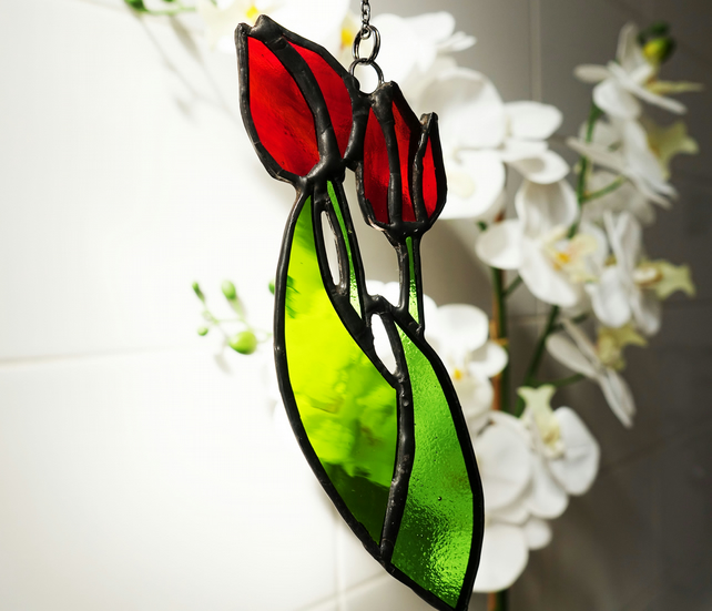 Stained Glass Tulips - Suncatcher Window Ornament Garden Home Decor