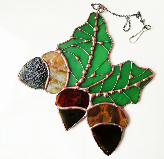 Stained Glass Acorns Copper Finish Suncatcher Home and Garden Decor