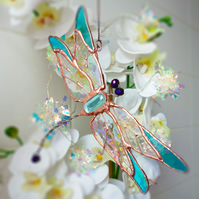 Dragonfly Crystal and Stained Glass Suncatcher Window Ornament Home Garden