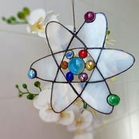 Scientific Atom Stained Glass Window Suncatcher Ornament Garden and Home