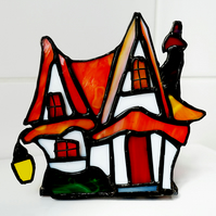 "Stained Glass ""Red Roof Cottage""  Clarice Cliff inspired night light Lamp"