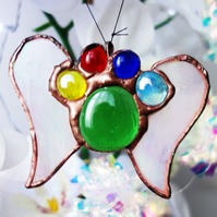 Rainbow Bridge Paw with wings Pet Memorial in Stained Glass