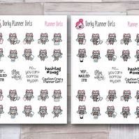 Planner Girl Stickers, Small Character Stickers