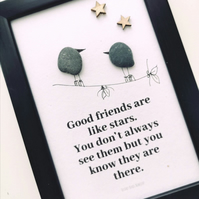 Friend gift, friend pebble art, pebble art, gift for her, birthday gift for her,