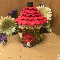 Gnome House Night Light hand crafted with acrylic paint & polymer clay embellish