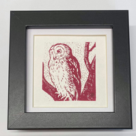 Limited Edition Red Owl Screenprint, gifts for her, gifts for him, birthday