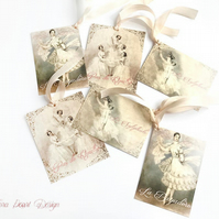Vintage Ballerina Gift Tags , 6 Ballet Gift tags , Shabby chic gift tags
