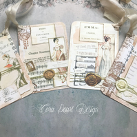 Jane Austen Regency collage silk ribbon gift tags , Book lover gift tags