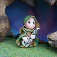 Tiny Minstrel Gnome 'Connel' with metal guitar OOAK Sculpt Ann Galvin