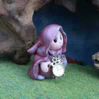 Tiny 'Keeper-of-Time' Gnome 'Tock' with golden clock OOAK Sculpt by Ann Galvin