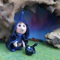 "Tiny Witch Gnome 'Ethril' 1.5"" with cauldron OOAK Sculpt by Ann Galvin"