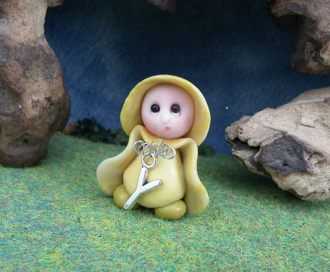 Alphabet Initial Gnome choice of letter OOAK Sculpt by Ann Galvin