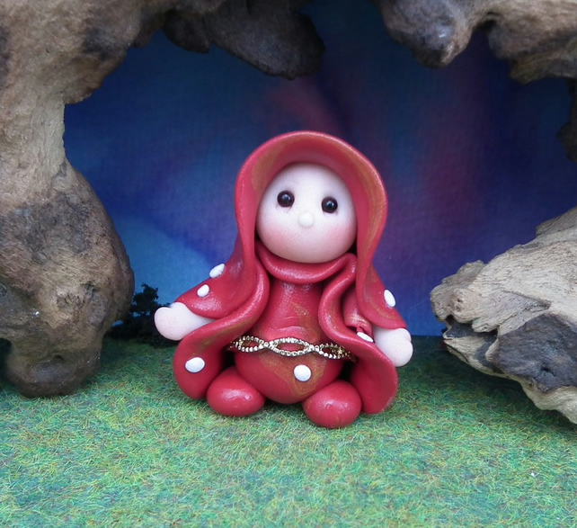 Tiny Toadstool Gnome with red robes 'Furze' OOAK Sculpt by Ann Galvin