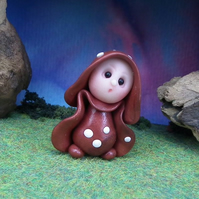 Tiny Toadstool Gnome with red robes 'Greth' OOAK Sculpt by Ann Galvin
