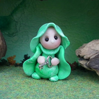 """Tiny Garden Gnome 'Rula' with key 1.5"""" OOAK Sculpt by Ann Galvin"""