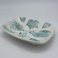 Leaves Handmade pottery ceramic soap dish botanical fauna nature garden nature p
