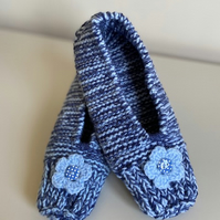 Hand knitted slippers - blue