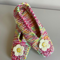 Hand knitted slippers - candy