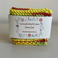 Luxury hand knitted cotton dishcloth - yellow, red and green