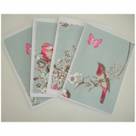Pack of Four Bird And Butterfly Blank Greetings Cards Notelets Birds x 4