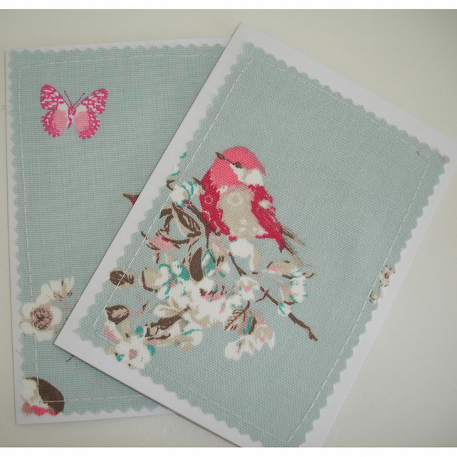 Pack of Two Bird And Butterfly Blank Greetings Cards Notelets Birds x 2