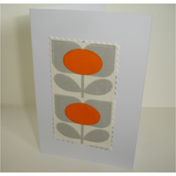Pack of Three 1970s Orange Flower Blank Greetings Cards Notelets x 3