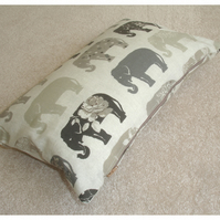 "Tempur Travel Pillow Cover Elephant 16""x10"" 16x10 Grey Elephants"