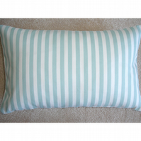 "Tempur Travel Pillow Cover Duck Egg Stripes 16""x10"" 16x10"