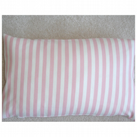 "Tempur Travel Pillow Cover Pink Stripes 16""x10"" 16x10"
