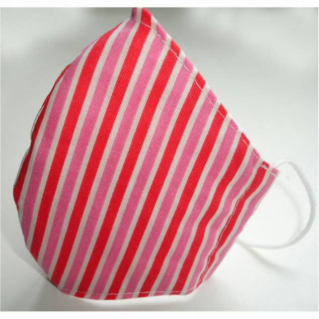 Face Mask Pink Red and White Stripes