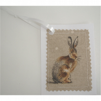 Hare Gift Tags Set of 3 x Tag Rabbit Hares