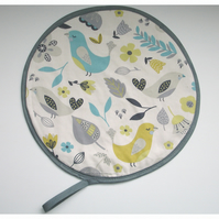 Aga Hob Lid Mat Pad Cover With Loop Surface Saver Birds Duck Egg Yellow Grey