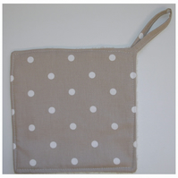 Pot Holder Potholder Grab Mat Kitchen Cookware Pad Beige Brown and White Dots