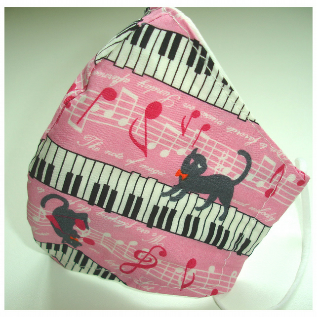 Cat Face Mask Cats and Piano Keyboard Pink and Grey