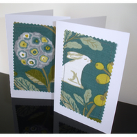 Pack of Six Hare and Flowers Notelets Blank Cards Rabbit