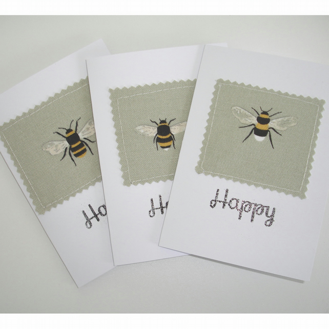 Bee Happy Blank Greetings Cards Notelets x 3 Pack of Three