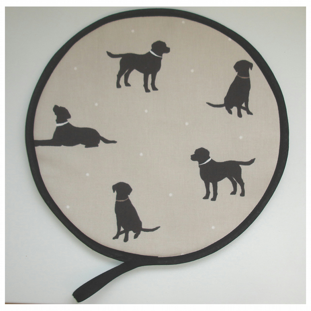 Labrador Chocolate Brown Dog Aga Hob Lid Mat Pad Hat Round Cover