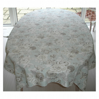 "Round Tablecloth 48"" Floral Roses Beige Duck Egg"